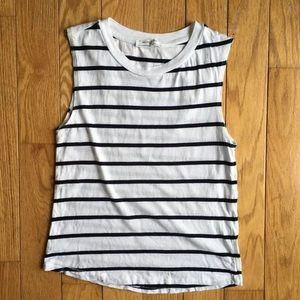Zara Organic Cotton Striped Black White Tank Top